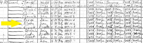 1900 Census Simon Leach Chatham NC