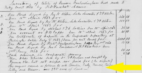 Frances, listed in the estate inventory of Dawson Vanlandingham. Warren County, NC 1863. Familysearch.org