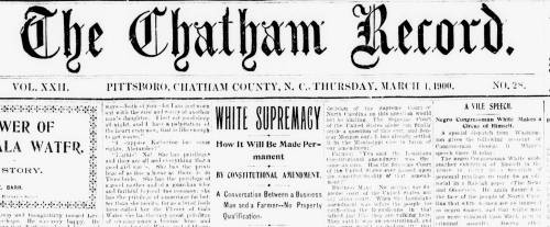 Front page of the Chatham Record, March 1, 1900. DigitalNC.org