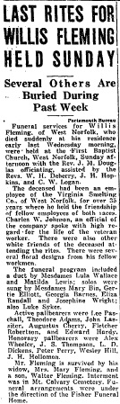 Obituary for Willis Fleming. September 28, 1935. Norfolk Journal and Guide.