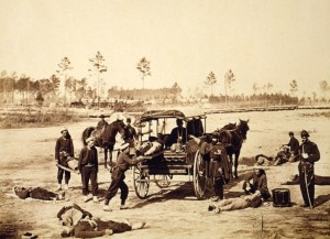 Ambulance drill at Headquarters Army of Potomac, near Brandy Station, Va., March, 1864. LOC 3g07974v