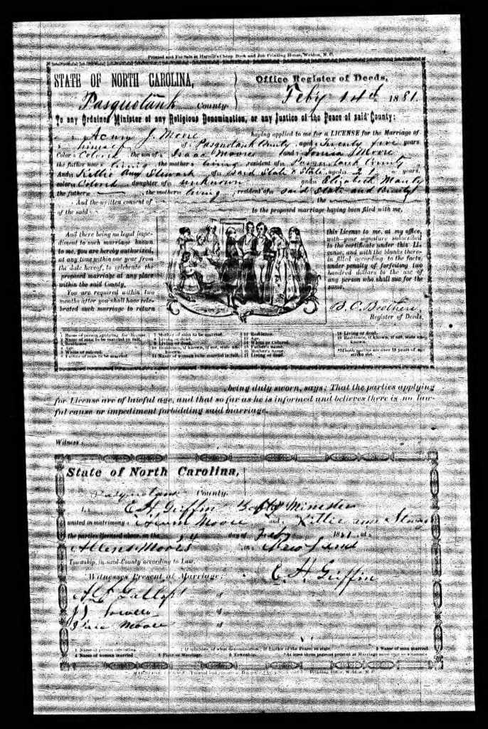 Marriage certificate of Axum J. Moore and Katie Ann Stewart. Pasquotank County, 1881. Ancestry.com