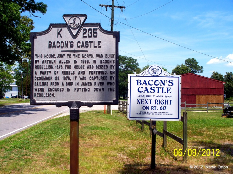 Bacon's Castle Historical Marker, Colonial Trial, Surry. June 9, 2012