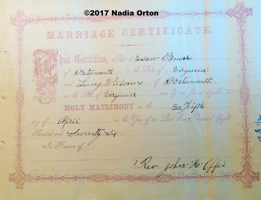 Bowers Marriage Cert Copyright 2017 Nadia Orton