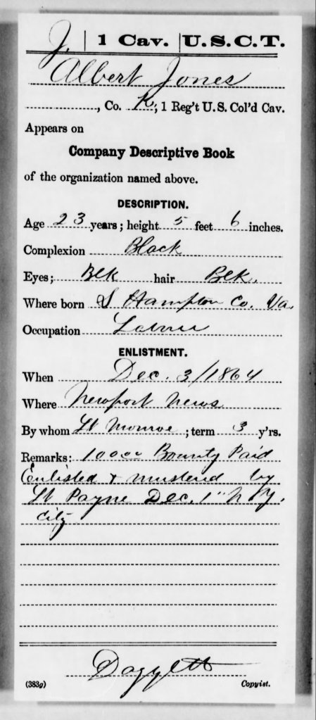 Pvt. Jones Portsmouth Enlistment Card